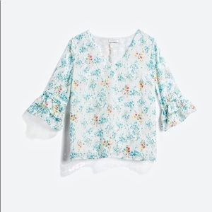 Visana White Floral Bell Sleeve Top